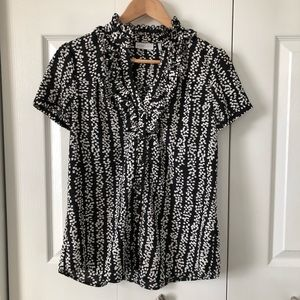 4/$25 New York & Co. Buttoned Short Sleeve Blouse